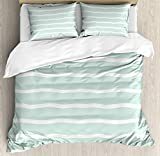 XOXUN Mint Duvet Cover Set, Horizontal Wavy Lines White Striped Abstract Soft Toned Nautical Art...