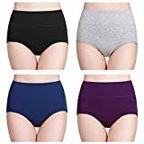 wirarpa Multipack Cotton Knickers for Women High Waisted Underwear, Large, Multicolor-4 Pack