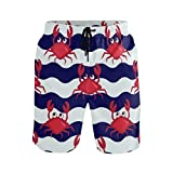 Buyxbn Crabs Striped Nautical XL Mens Swim Trunks Shorts for Beach Surfing Sport Swimming Training