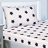 Price Right Home Navy Blue and White Stars Single Fitted Sheet and Pillowcase Set