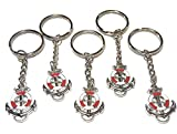 FizzyButton Gifts Set of 5 red and White Enamel Sailing Ships Anchor and Life Ring keyrings for...