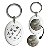 Nautical Stars - White Plastic Shopping Trolley £1 Coin Key Ring
