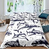 Tbrand Boys Shark Bedding Set Ocean Marine Theme Comforter Cover for Kids Teens Cartoon Creature...