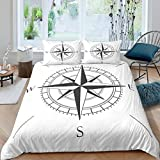 Loussiesd Nautical Compass Comforter Cover for Kids Boys Teens,Black And White Simple Bedding Set...