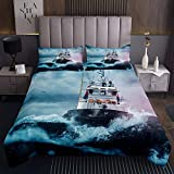 Loussiesd Boys Nautical Decor Quilted Coverlet For Kids Adults Sailboat Printed Coverlet Set Ocean...