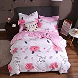 JWANS Floral Bedclothes 4 Pieces Pastoral Style Duvet Cover Striped Bed Sheet Pillowcase Queen King...