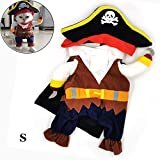 DHQSS Funny Cat Costumes Pirate Suit Cat Clothes Kitty Kitten Corsair Halloween Costume Puppy Suits...