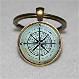 Nautical Compass Keychain ,Compass Rose Keychain,Wind Rose, Nautical Keychain,Unique Key Ring...