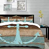 Yilan bedding - Duvet Cover Set,Anchor by,Boat Anchor Nautical Rustic Wooden Planks, Baby...