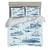 Duvet Cover Set King Size(230 x 220cm) with 2 Pillow Shams Nautical Set Microfiber Bedding Sets...