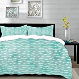 bedding - Duvet Cover Set ,Nautical,Soft Pastel Colored Ocean Sea Waves Pattern Summer Vibes...