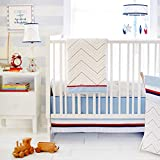 My Baby Sam First Mate 3pc Crib Bedding Set, Navy and White, Standard Toddler