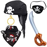 Haichen 5 Pieces Pirate Costume Accessory Set Skull Hat Bandana Pirate Eye Patch Hook Earring...