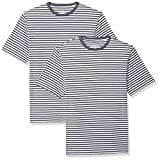 Amazon Essentials Loose-Fit Short-Sleeve Stripe Crewneck T-Shirts Navy/White (Pack of 2) S