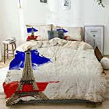 QINCO bedding-Duvet Cover Set,Beige,Beautiful Paris Postcard. City of love and...