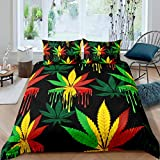 Marijuana Weed Leaf Duvet Cover Cannabis Leaves Bedding Set Colorful Marijuana Leaf Comforter Cover...