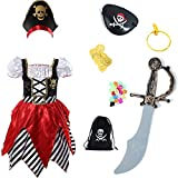 Girls Pirate Costume Pirate Buccaneer Princess Deluxe Dress With Sword,Pirate Pouch,Eye-patch and...