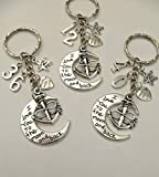 I Love You To The Moon And Back Keyring Any Number Multi Choice Anniversary Birthday Anchor