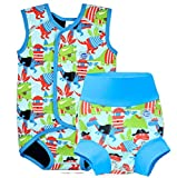 Splash About New Improved Happy Nappy and Matching BabyWrap (6-12m Nappy 6-18m Wrap, Dino Pirates)