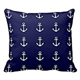 Soft Cushion Cover for Sofa Anchor Navy Blue White Nautical Pillow Case Standard Size Pillow Sham