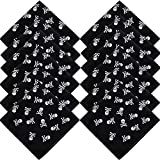 12 Pieces Pirate Bandana Face Mask Bandanas for Dust Black Pirate Captain's Headscarf for Pirate...