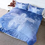 BlessLiving Blue Sea Turtle Bedding Kids Boys Tribal Animals Duvet Cover 3 Pieces Coastal Nautical...