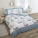 R H Linens Sail Away Nautical Sea Boats King Duvet Cover Bedding Set