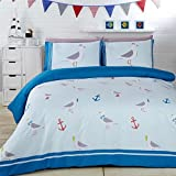 NCS Seaside Seagulls Birds Anchors Teal Green Duvet Cover Quilt Linen Bedding Set (Double)