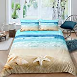 Hawaii Beach Bedding Set Boys Girls Adults Ocean Wave Nautical Duvet Cover Kids Starfish Shell...