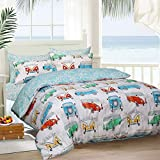 Sleepdown Reversible Printed Tropical Campervan Poly Cotton Duvet Quilt Cover Bedset, 3 Pcs - King