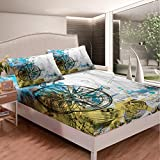 Tbrand Nautical Bedding Set Ocean Theme Bed Sheets for Kids Boys Girls Watercolor Ship Compass...