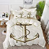 bedding - Duvet Cover Set ,Nautical,Gold Foil Anchor Image Be Safe and Grounded Voyage Journey...