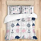 3 Pieces Duvet Cover,Blue Cute Nautical Pattern Whales and Boats,Quality Bedding Set with 1 Quit...