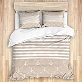 ALLMILL Duvet Cover With Zipper Closure,Classical Nautical Pattern with Anchor Icons and Chain...
