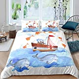 Loussiesd Cartoon cute Ocean Creature Themed Bedding Set for Girls Boys Children whale Comforter...