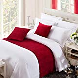 OSVINO Solid Color Chenille Soft No Fading Modern Bed Runner Bedding Scarf Protection, Red 240X50cm...