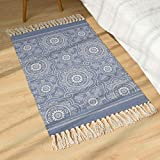 SHACOS Vintage Cotton Area Rug Blue 60x90cm Machine Washable Printed Cotton Rugs Moroccan Hand Woven...