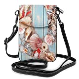 Women Small Cell Phone Purse Crossbody,Letter Q Various Nautical Animals Ocean Inspired Tropical...