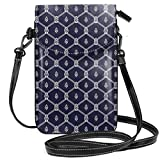 Women Small Cell Phone Purse Crossbody,Ornamental Nautical Themed Image With Marine Motifs Ropes...