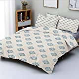 Duvet Cover Set,Nautical Inspired Color Ornamental Abstract Geometrical Shapes Circles...