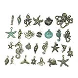 TOYANDONA 56pcs Marine Life Charms Pendants Mixed Antique Sea Animal Charms Collection Beads for DIY...