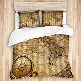 Yhouqukhdeueh Duvet Cover Sets Bed Sheets,Antique Nautical Global Chart Golden Com,3 Piece Bedding...