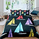 3D Colored Sailboat Comforter Cover Set Nautical Theme Duvet Coverfor Kids Boys Girls Wave Ocean...