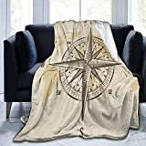 Printed Flannel Blanket,Vintage Nautical Compass Old World Map Throw Living Room/Bedroom/Sofa Couch...
