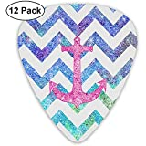 12 Pack Guitar Picks, Pink Anchor Print Celluloid Guitar Pick Set For Acoustic Electric Guitar Bass
