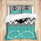 3 Pieces Duvet Cover,Nautical Anchor Chevron Zigzag Live Laugh Love,Quality Bedding Set with 1 Quit...
