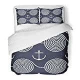 LnimioAOX 3 Piece Brushed Microfiber Brushed Microfiber Fabric Duvet Cover Set with Rope Spirals and...