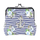 BONIPE Stripe Nautical Anchor Floral Print Coin Purse Leather Mini Clutch Pouch Wallet for Women...