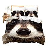 Raccoon Comforter Cover King Size Animals Bedding Set Wilderness Collection Duvet Cover Wildlife...