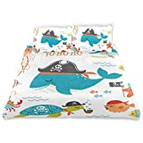Duvet Cover Set Ahoy Pirate Whale Turtle Pipe Hook Crab Octopus Captain Starfish Swordfish Nautical...